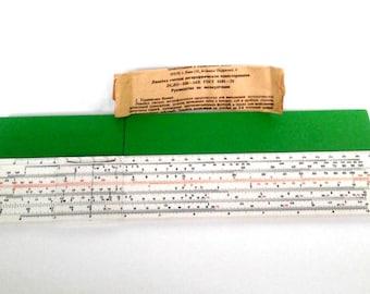 Vintage Soviet pocket slide rule, logarithmic ruler, made in USSR, 1970s