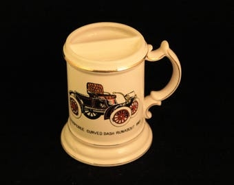 "Vintage Mustache Mug ""Oldsmobile Curved Dash Runabout 1901"" White Ceramic Shaving Cup Gold Trim Gift Man"