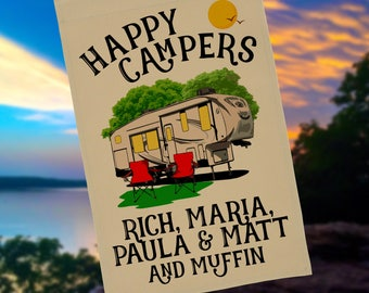 Happy Campers Personalized 5th Wheel Garden Flag, Large Fifth Wheel Campsite Flag, RV Gift, 5th Wheel Camp Sign, Stand not included