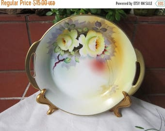 Meito China Handled Bowl Vintage 1940's Handpainted Yellow Rose Japan Serving Dining Gold Gilt Collectible Home Decor - Kit0174