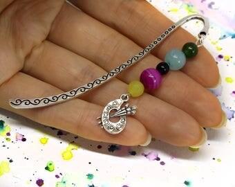 Gift for artist - Artist bookmark - Palette charm bookmark - Colorful beaded bookmark - Gemstone bookmark for reading - Metal bookmark