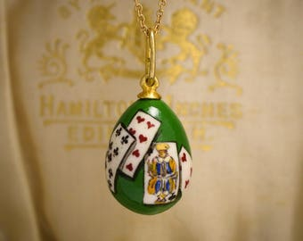 "Antique Victorian ""Playing Cards"" Russian Miniature Egg Pendant in Enamel and Silver Gilt, c1880"