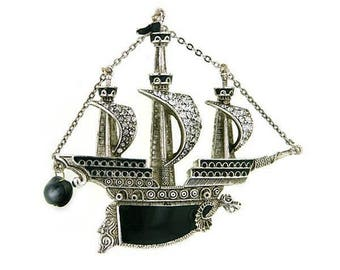 New 2018 - Black Pearl - Enameled Ship Brooch - Renaissance Victorian