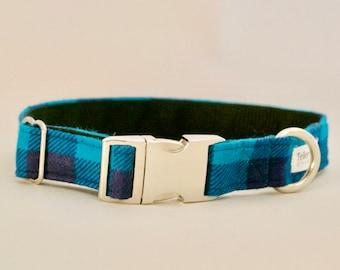 Teal and Navy Blue Buffalo Plaid Dog Collar - Rustic Dog Collar - Trendy Dog Collars - New Puppy Collar - Easter Gift - Trendy Dog Collar