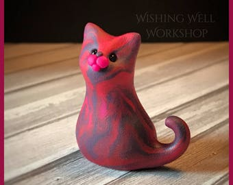 Polymer Clay Dark Pink Scrappy Cat B