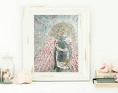 Serenity- Fine art PRINT of angel from 1920's vintage photo in mixed media collage by Tori Jane