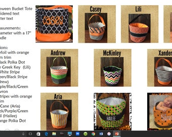 Personalized Halloween Bucket Tote