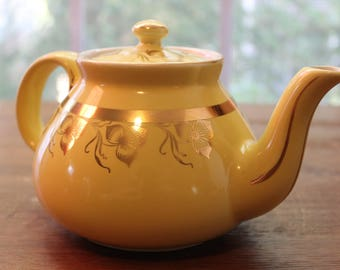 Vintage HALL Teapot Canary Yellow Gold Floral 6 Cup Made in USA #039