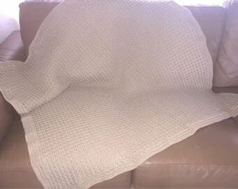 Handmade Crochet Blanket Throw Afghan, lounge accessory bedding gift handmade gift, crochet waffle blanket, brown tan blanket Etsy Australia