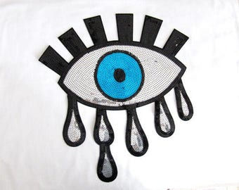 Oriente Eye Patch Tears Eye Oatch Sew On IRON ON silver teary crying blue eyes black lashes pop art 80s Sequin Patches Motif applique
