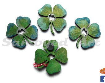 Samoyed Shamrock Magnet - wooden magnet with 4 leaf clover