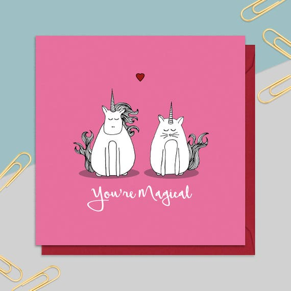 Unicorn Valentine\'s Card Greetings Card