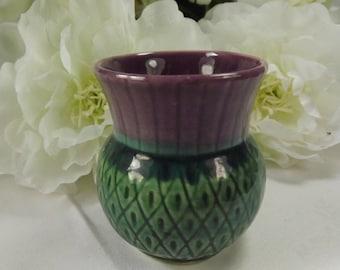 Thistle , Ceramic Small Vase Purple Scottish Vintage