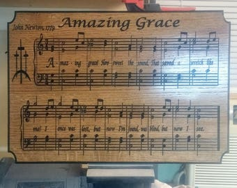 Amazing Grace Carved in Wood