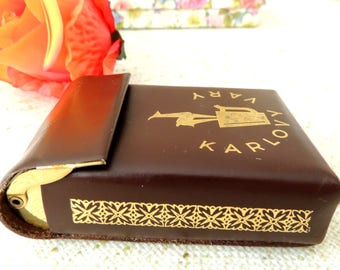 Cigarette Case, Vintage Brown Leather Cigarette Box, Czech Czechoslovakia, Souvenir from Carlsbad Karlovy Vary,  Collection