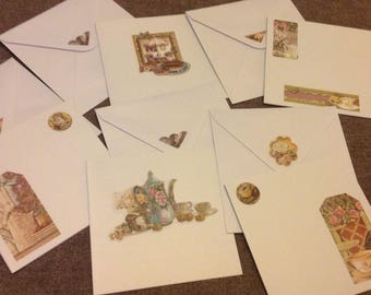 Set of 5 folded cards with envelopes chromo style has the tea time