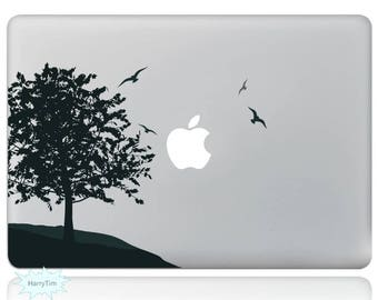 Tree and Birds Macbook Decal Mac Stickers Macbook Decals Macbook Stickers Apple Decal Mac Decal Stickers Laptop Decal