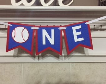 Baseball ONE Birthday banner, High Chair ONE banner, Blue and Red Banner, I am 1, Smash Cake Photo banner
