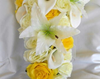 Cascade bouquet ivory lilies and yellow and ivory roses 2 pc