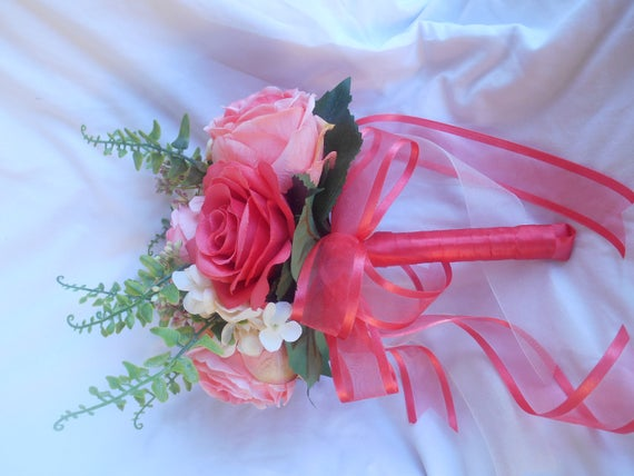 Brides Maids bouquet set of 4 Coral and  and cream 4 grooms men bout includes