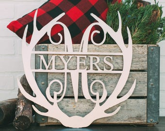 "16"" Antler Monogram with Name or Word"