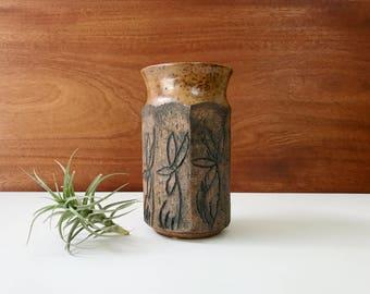 Midcentury studio pottery vase / flower motif / signed Brooks Laguna