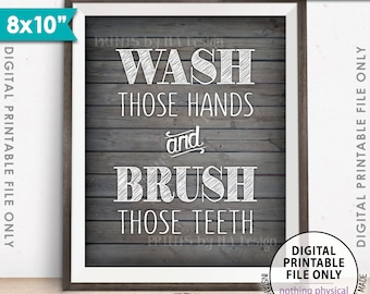 "Bathroom Rules, Wash Those Hands and Brush Those Teeth Bathroom Wall Art Bathroom Decor, Rustic Wood Style Printable 8x10"" Instant Download"
