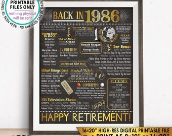"""Retirement Party Decorations, Back in 1986 Poster, Flashback to 1986 Retirement Party Decor, Chalkboard Style PRINTABLE 16x20"""" Sign <ID>"""