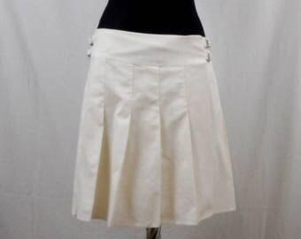 Strenesse Blue, White Skirt, Pleated Skirt, Strenesse Velvet Skirt, Minijupe Portefeuille, White Pleated Skirt, Velvet Skirt, Size 38