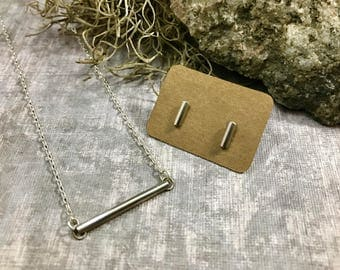 Bar Necklace, Sterling Silver Bar Necklace, Silver Bar Necklace, Bar Necklace, Silver Bar Earrings, Sterling Bar Earrings, Bar Earrings