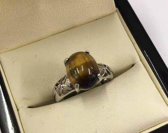 Vintage 9ct White Gold Tigers Eye Ring Size N