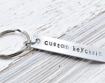 Custom keychain, Hand Stamped Key Chain.