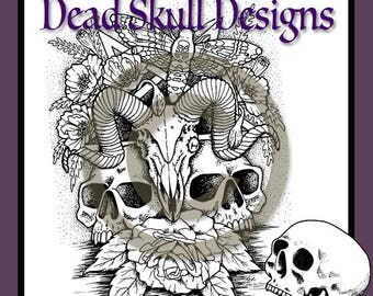 Ram Skull - Colouring Page, Coloring Page, Digital Stamp,  Moth, Dead Skull Designs