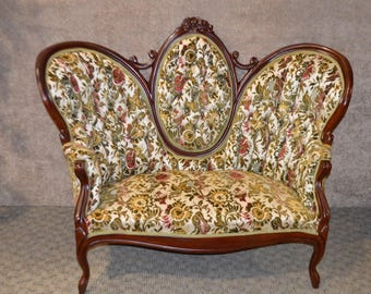 vintage carved wood victorian style hump back loveseat