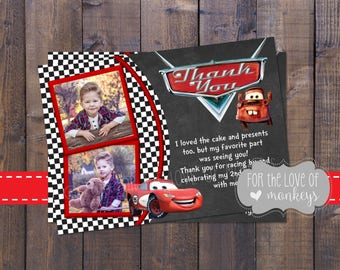 Cars Thank You Card, Birthday Thank You Card, Printable Thank You Card
