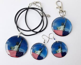 SET choker necklace earrings Transparent keychain patriotic Jewelry USA flag America light earrings red white blue 4th of july epoxy resin