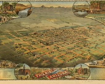Phoenix Arizona Panoramic Map dated 1885. This print is a wonderful wall decoration for Den, Office, Man Cave or any wall.