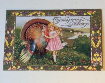 Antique Thanksgiving Postcard/Thanksgiving Greetings/Embossed Postcard/Holiday Postcard/Victorian Postcard/Thanksgiving Emphera/Postcards