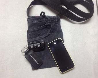 Recycled black denim cross body bag.