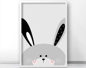 Bunny Print, Digital Download Nursery Print, Animal Nursery Art, Kids Print, Nursery Decor, Instant Download Printable Nursery, Bunny Art