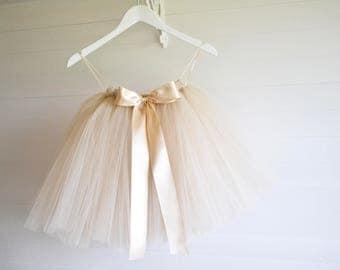 Champagne tutu, girls tutu, flower girl tutu, wedding tutu, toddler tutu, skirt, wedding dress, baby tutu, tulle skirt, flower girl dress