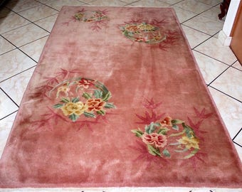 7'x4' Antique Nichols Art Deco Chinese Hand Knotted Peach Floral Rug c.1920