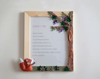 """felt and wood photoframe """"the fox and the grapes"""""""