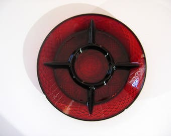 Vintage Ruby Red Glass – Divided Serving Plate by Cristal D'Arques Durand of France - Pressed Glass