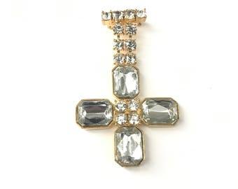 Vintage Rhinestone Jeweled Maltese Cross Brooch