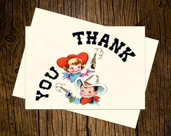 Western Thank You Note Cards Custom Printed Handmade Stationery Set of 12 Red Blue Vintage Ecru Rustic Cowboy Cowgirl