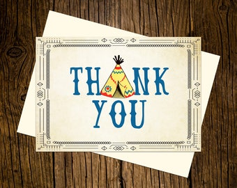 Boho Thank You Note Cards Custom Printed Handmade Stationery Set of 12 TeePee Blue Yellow Vintage Ecru Western Rustic Tribal