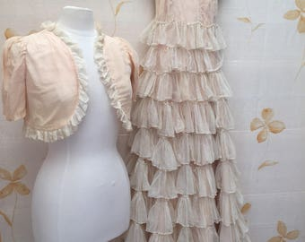 1930s tulle ruffles evening gown or wedding dress with matching bolero.