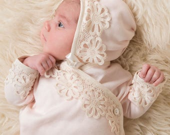 Hannah Knot Newborn Gown, Knotted Baby Gown & Baby Bonnet