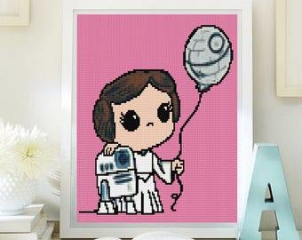 Princess Leia cross stitch modern pattern. Star Wars cross stitch pattern. Download PDF. Ptrón princela Leia punto de cruz, descarga PDF